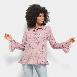 Blusa Lily Fashion Babado Estampada Laço Manga Longa Feminina - Rosa R$40