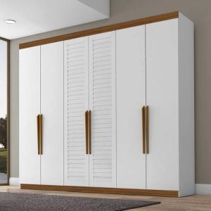[AME] Guarda Roupa 6 Portas Branco/madeira Columbia - Tebarrot - R$1475 (ou R$734 com Ame)