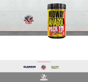 Kit 3x Anabol Pack Pré Treino completo com cafeína, aminoácidos, vitaminas e minerais - Midway USA