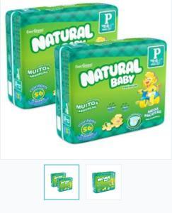 Fraldas Natural Baby Premium P - 112 Unidades por R$ 58