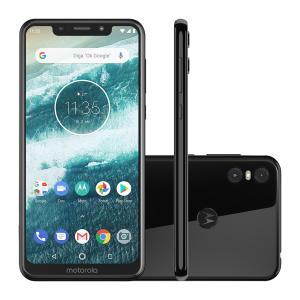 "Smartphone Motorola Moto One 64GB Black 4G Tela 5,9"" por R$ 1099"