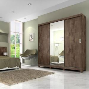 Guarda-Roupa Casal com Espelho 3 Portas 3 Gavetas Lara Slider Panan | R$693