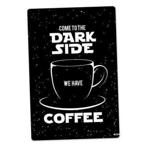 Placa Decorativa - Dark Side Coffee Preta   R$14