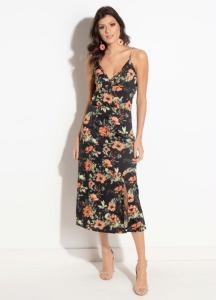 Vestido Quintess Floral Preto com Fenda R$60
