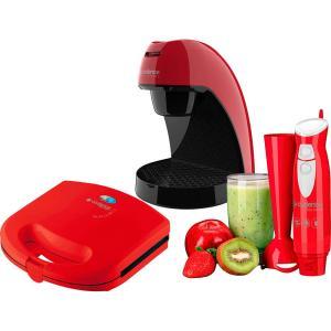 Cafeteira Single + Sanduicheira Grill + Mixer Fast Blend Colors Vemelho Cadence 127V - R$149
