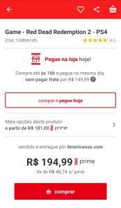 [App Americanas] Red Dead Redemption 2 para PS4 ou Xbox One por R$ 134,99