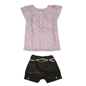 Conjunto Infantil Blusa Tricoline e Shorts de Veludo | R$48