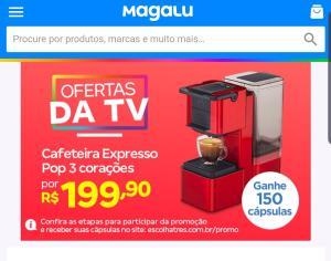Máquina de café três corações pop Plus s27 (150 reais em cápsulas)