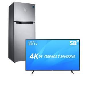 "Smart TV LED 58"" UHD 4K Samsung 58NU7100 + Refrigerador Samsung RT46K6261S8 Frost Free - 453L - R$5.198"