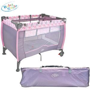 Berço Plus Portátil com Trocador Baby Style Mobile Flores - Rosa - R$247