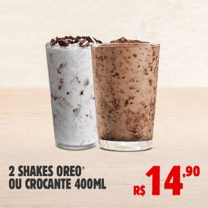 2 shakes 400 ml Oreo ou crocante.
