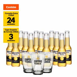 Kit Coronita 210ml(24 unidades) + Copo Empório da Cerveja 350ml (3 unidades)   R$80