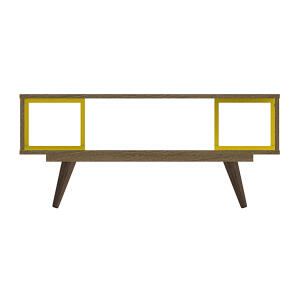 Mesa de Centro Retangular Rustik e Amarelo Olivar Retrô 45 | R$136