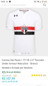 Camisa São Paulo I 17/18 s/nº Torcedor Under Armour Masculina - Branco