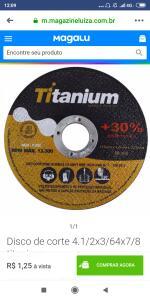 [MAGALU] Disco de corte 4.1/2x3/64x7/8 titanium
