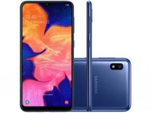 "Smartphone Samsung Galaxy A10 32GB Azul 4G - 2GB RAM 6,2"" Câm. 13MP + Câm. Selfie 5MP | R$681"