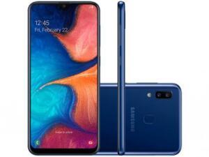 "Smartphone Samsung Galaxy A20 32GB Azul 4G - 3GB RAM 6,4"" Câm. Dupla + Câm. Selfie 8MP | R$874"