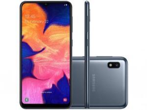 "Smartphone Samsung Galaxy A10 32GB Preto 4G - 2GB RAM 6,2"" Câm. 13MP + Câm. Selfie 5MP   R$663"