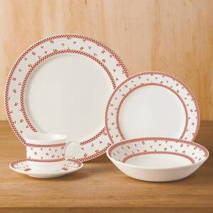 Aparelho de Jantar 20 Peças Cerâmica Domino Branco/Vermelho - La Cuisine - R$149