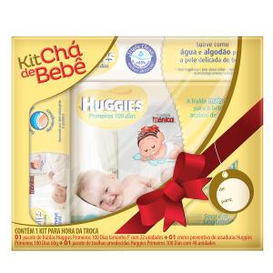 Kit Chá de Bebê Huggies Primeiros 100 dias - Fralda P 22 Unidades + Creme + Lenço Umedecido 48 Unidades - R$30