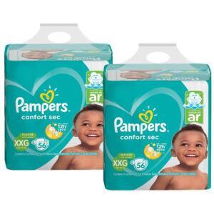 [AME] Kit Fralda Pampers Confort Sec Super Tamanho XXG 112 Tiras