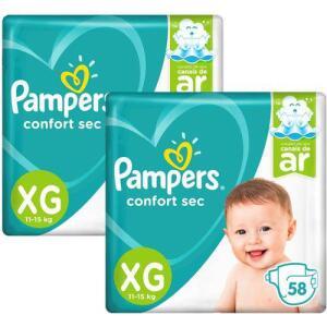 [AME] Kit Fralda Pampers Confort Sec Nova Super Tamanho XG 116 Unidades