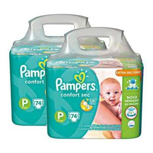 [AME] Kit Fralda Pampers Confort Sec Super Tamanho P 148 Unidades