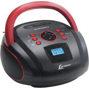 Rádio Portátil Boombox Lenoxx, Entrada USB e Micro SD, Bluetooth, Preto / Vermelho - BD110 | R$107