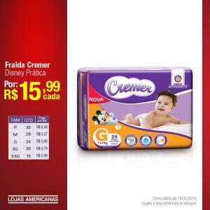 Fralda Cremer Infantil Disney Prática por R$ 15,99 cada
