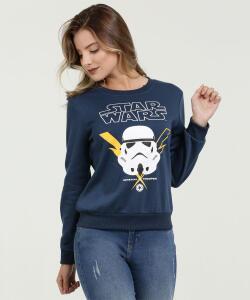 Blusão Feminino Moletinho Estampa Star Wars Manga Longa Disney | R$42