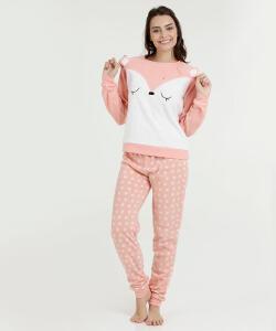 Pijama Feminino Estampa Raposa Manga Longa Marisa | R$84