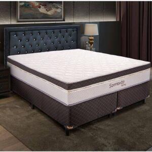 Conjunto Box Queen Size - Sorrento Quadriculado Marrom Simbal Spring Quadriculado   R$760