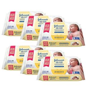 Kit Toalhas Umedecidas Johnsons Baby Recém-Nascido 6 pacotes com 96 unidades cada - R$108