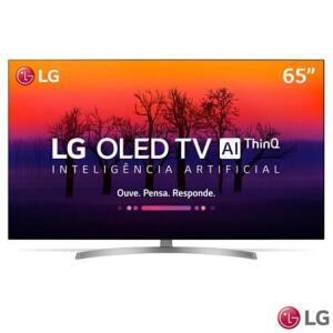 "Smart TV 4K LG OLED 65"" Ultra HD com Controle Smart Magic, WebOS 4.0, Dolby Atmos® e Wi-Fi - OLED65B8SSC | R$8.399"