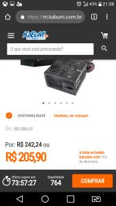 Fonte EVGA 500w80 plus white por 205 reais a vista no boleto