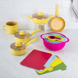 Conjunto de Panelas Everyday Amarela 5 peças + Conjunto Bowl e Medidores Colors 8 em 1 + Conjunto de Tábuas 4 Peças - La Cuisine - R$186