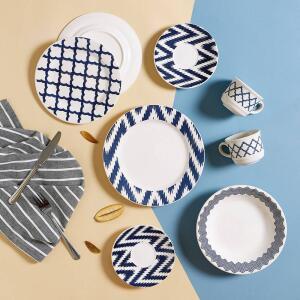 Aparelho de Jantar 20 Peças Cerâmica Prisma Branco/Azul - La Cuisine - R$116
