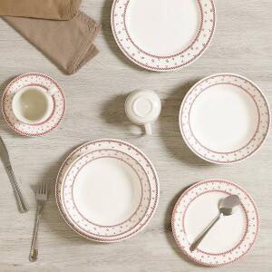 Aparelho de Jantar 20 Peças Cerâmica Domino Branco/Vermelho - La Cuisine - R$116