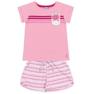 Conjunto Infantil Fakini Estampa Listrada Feminino - Rosa e Azul R$24