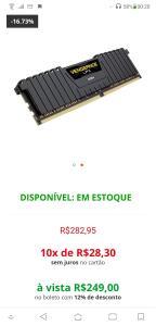 Memória Corsair Vengeance LPX 8GB 2666Mhz DDR4 Preta