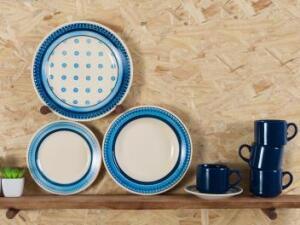 Aparelho de Jantar 20 Peças Biona Cerâmica - Redondo Branco e Azul Donna por R$ 99