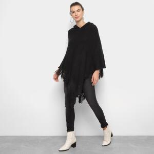 Poncho Lily Fashion Texturizado com Franjas - Preto R$70