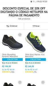 20% desconto seleção de calçados Netshoes