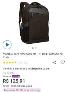"[CLUBE DA LU] Mochila Dell Professional para Notebook até 15.6"""
