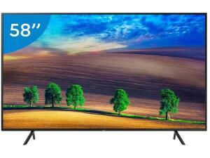 "(APP) Smart TV 4K LED 58"" Samsung UN58NU7100GXZD  + 2 meses de Globoplay Grátis"