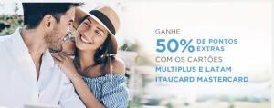 50% de Pontos Extras com Cartões Multiplus e Latam Itaucard MasterCard