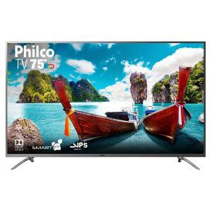 "Smart TV LED 75"" Philco PTV75e30DSWNT Ultra HD 4k com Conversor Digital 3 HDMI 2 USB Wi-Fi 60Hz - Titânio"