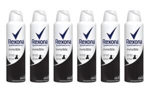 Kit 6 Desodorantes Rexona Women Aerosol Antitranspirante Invisible Feminino 150ml - Incolor - R$54