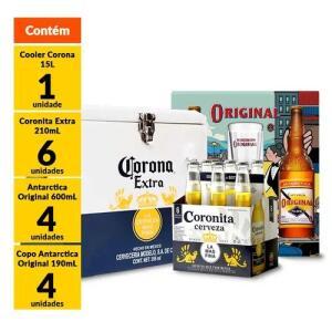 [ Empório da Cerveja ] Kit Cooler Corona + 4 Original 600ml + 4 copos Original + 6 Coronitas 210ml