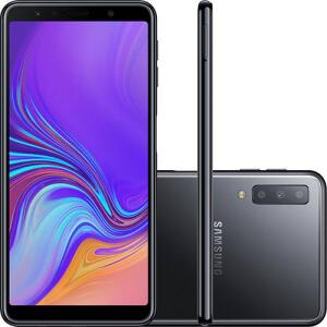 "Smartphone Samsung Galaxy A7 128GB Dual Chip Android 8.0 Tela 6"" Octa-Core 2.2GHz 4G Câmera Triple - Preto | R$1.439"